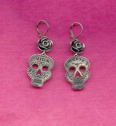 Dia De Los Muertos Sterling Rose Earrings. $158.00, via Etsy.