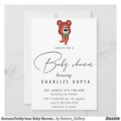 AutumnTeddy bear Baby Shower Invitation Baby Shower Invites For Girl, Baby Shower Invitations, Rustic Invitations, Create Your Own Invitations, For Your Party, Colored Envelopes, Envelope Liners, Paper Texture, Pregnancy