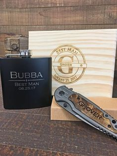 What a great wedding favor gift set! If your Best Man is a real man then he will love the optional flask and spring assisted pocket knife add ons.  Don't forget about your groomsmen, ushers, fathers of the bride and groom as well!  I bet you have never got such a unique gift box set at any other wedding you were apart of!
