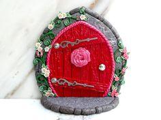 Fairy Door: Rosey Red Doorway with Flowering Vines by MiniWhimsies