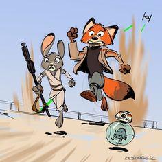 #Zootopia the FURce awakens! #nickandhopps #starwars #thefurceawakens