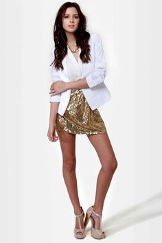 #lulusholiday Cute Gold Skirt