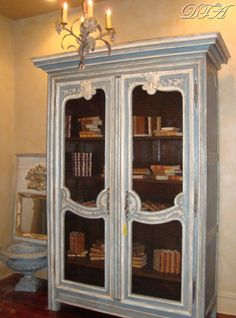 Upcycled Repurposed Bookcase Armoire Tv Painted French Salvaged Furniture