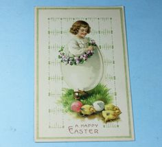 Vintage Easter Postcard Young Boy with Flowers by PastSplendors