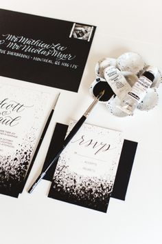 Hand painted invitations: http://www.stylemepretty.com/canada-weddings/quebec/montreal/2015/05/12/modern-black-white-inspiration-shoot/ | Photography: Lisa Renault - http://www.lisarenault.com/