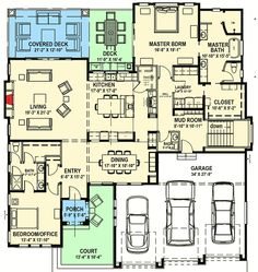 Modern Prairie House Plan for a Rear Sloping Lot - 64421SC | 1st Floor Master Suite, CAD Available, Den-Office-Library-Study, In-Law Suite, Media-Game-Home Theater, Modern, PDF, Prairie, Sloping Lot, Split Bedrooms | Architectural Designs