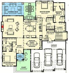 Plan 64421SC: Modern Prairie House Plan for a Rear Sloping Lot