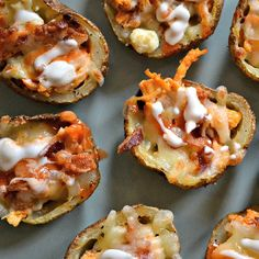 Load potato skins with buffalo chicken, bacon, and cheese to create a winning party appetizer.