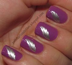 purple with silver feather design