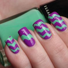 Purple and Green Zig-Zag Nail Design - http://www.naildesignsforyou.com/purple-nail-designs/ #nails #naildesigns #nailart #purplenails #purplenaildesigns #purplenailart #cutenails