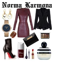 """Norma Karmona"" by normacarmona on Polyvore featuring moda, Balmain, Caravelle by Bulova, Christian Louboutin, Balenciaga, Christian Dior, Marc Jacobs, Yves Saint Laurent y MAC Cosmetics"