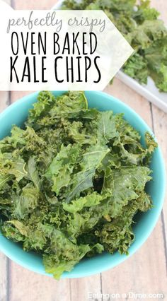 Looking for a recipe for homemade kale chips? Make this Easy kale chip recipe - Oven Baked Kale Chips recipe. How to make kale crisps that are crispy and delicious every time. Healthy Treats, Healthy Eating, Clean Eating, Healthy Chips, Healthy Cooking, Clean Recipes, Cooking Recipes, Cooking Time, Yummy Snacks