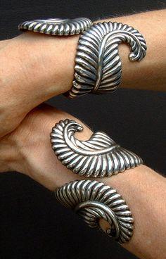 Los Castillos Taxco Mexico Sterling Silver Cuff Bracelets Just wooowwwwww