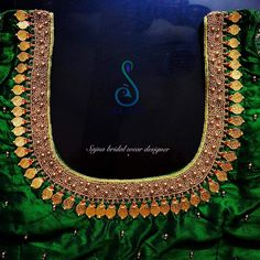 Stunning green color bridal designer blouse with hand embroidery kasu work on neckline. To get your outfit customized visit at Chenna Simple Blouse Designs, Stylish Blouse Design, Fancy Blouse Designs, Bridal Blouse Designs, Saree Blouse Designs, Saree Tassels Designs, Mirror Work Blouse Design, Maggam Work Designs, Designer Blouse Patterns