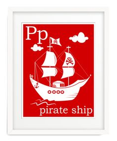 Pirate Print for Boy's Bedroom