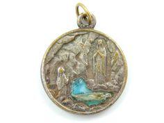 Vintage Blue Enamel Our Lady of Lourdes Catholic Medal - Religious Charm - Scapular Medallion by LuxMeaChristus