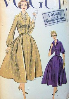 Welcome to So Vintage Patterns Shirt Dress Pattern, Dress Making Patterns, Vintage Sewing Patterns, Vintage Dresses, Vogue Patterns, 1950s, Neckline, Deep, Skirts