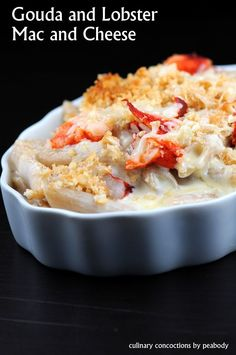 Gouda and Lobster Mac and Cheese 12 oz. whole wheat pasta (or whatever pasta you like) 12 oz. Gouda cheese, grated 4oz. Asiago cheese, grated 2 ¼ cups heavy cream ½ cup whole milk 5 TBSP all-purpose flour ¼ tsp. fresh ground nutmeg 8 TBSP unsalted butter, divided 1 ½ cups cracker crumbs (I used Townhouse Butter Crackers) 12 oz. cooked lobster meat