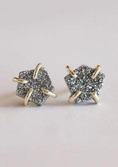 Silver Druzy Prong Bar Earrings, Etsy Earrings, Sterling Silver Earrings, Silver Jewelry, Cream Tees, Stone Bar, Stone Cuts, Silver Bars, I Love Jewelry