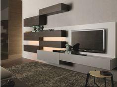 Mueble modular de pared composable montaje pared lacado de madera TAO10 | Mueble modular de pared de madera