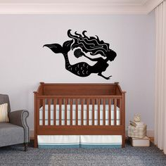 Mermaid Decal with Sea Shell for Bathrooms and Kids by danadecals