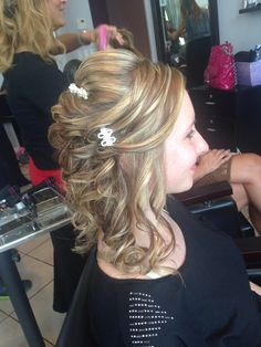 Side view half up half down updo bride from Saturday