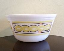 Vintage Federal Glass Mixing Bowl Fred Press Yellow and Gold Design Mid Century Kitchen 1950s 1960s