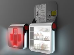 Good concept design: First Aid is an evolutionary first-aid kit with LED luminance and a red cross-shaped touch screen. The screen provides comprehensive and concise instructions for the administering of first aid in the most efficient way. First Aid Kit Checklist, Diy First Aid Kit, Red Dot Design, Box Design, Design Ideas, Disaster Kits, Gnu Linux, Emergency Supplies, Emergency Kits