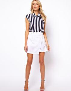 ASOS | ASOS Linen Mini Skirt With Wrap Detail at ASOS