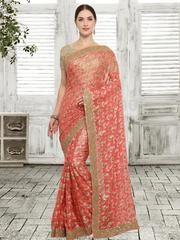 Peach Color Art Silk Designer Party Wear Sarees : Shanovi Collection YF-60573 Art Silk Sarees, Color Art, Party Wear Sarees, Peach Colors, Sari, How To Wear, Collection, Design, Fashion