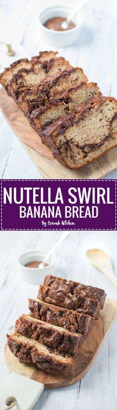 Creamy swirls of rich hazelnut Nutella complement the moist, flavourful banana base in this Nutella Swirl Banana Bread. | crumbkitchen.com