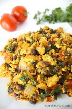 Southwestern tofu scramble with black beans, tomato, cilantro (vegan and gluten-free)