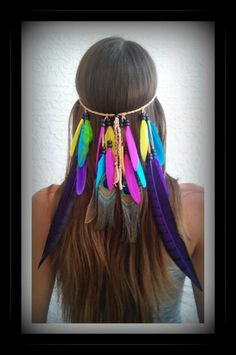 Rainbow Bird of Paradise Feather headband native by dieselboutique