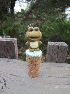 Green Frog Winestopper by Heavy Nesting by HeavyNesting on Etsy, $10.00