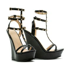 ec9052ecd97 Venus Women s Studded Gladiator Wedge ( 39) ❤ liked on Polyvore featuring  shoes