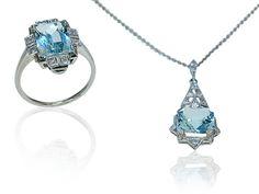 Necklace Ring Aquamarine Diamonds  Ring, Kette mit Anhänger mit Aquamarin und Diamanten