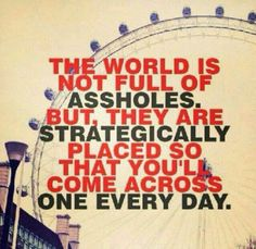 The world is not full of assholes. But, they are strategically placed so that you'll come across one every day..