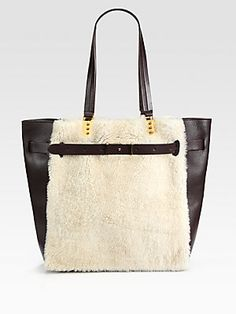 4294bfb3d61 Christian Louboutin Sybil Large Shearling  amp  Leather Tote Christian  Louboutin Women, Fab Bag,