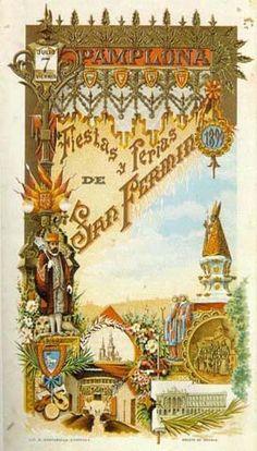 Cartel Sanfermines 1899 - Fiestas y ferias de San Fermín,  #Pamplona