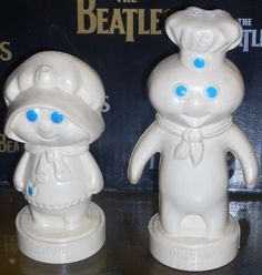 Charming Vintage Pillsbury Doughboy & Poppie plastic salt & pepper shakers $18.00