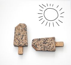 Cork brooch  popsicle by Spapla on Etsy