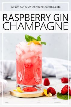 Raspberry Gin Champagne - Bubbly and refreshing cocktail made by shaking fresh raspberries, gin, lemon juice, simple syrup then topping with prosecco or champagne. Easy Drink Recipes, Best Cocktail Recipes, Drinks Alcohol Recipes, Punch Recipes, Smoothie Recipes, Cooking Recipes, Refreshing Cocktails, Fun Cocktails, Party Drinks