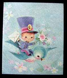 Vintage greetings card.    Used. No envelope.    Pretty picture, good condition.    New Baby.    Any questions please message me.    Picture is best