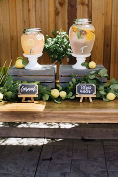 Beverage dispensers from a Rustic Lemon Themed Baby Shower on Kara's Party Ideas | KarasPartyIdeas.com (21)