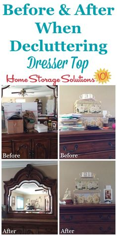 Before and after of decluttered dresser top, to see the big difference clearing off this flat surface makes in your bedroom {featured on Home Storage Solutions 101}