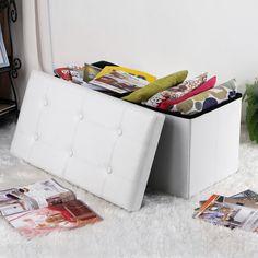 Songmics Pouf Cubo Poggiapiedi Sgabello Contenitore Cassapanca pieghevole Carico max. 300 kg in ecopelle imbottito Bianco 76 x 38 x 38 cm LSF106: Amazon.it: Casa e cucina