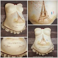 Greetings from Paris! Best Keepsake to decorate a pregnancy belly cast, when you loooove France :)