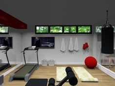 Great gym for a smaller basement.  Love the towel hooks! And mirrors
