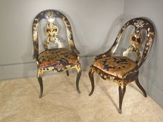 Pair of Paper Mache', Japanned Victorian Chairs with Mother-of-Pearl