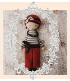 Prim. Rojo pantalones Boche-colgante. Porta cadena de 70cm realizado a mano pvp 18 eurFrambuesa: Muñequitas